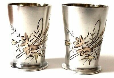 RUSSIAN IMPERIAl 84  SILVER DRINKING CUPS 108 GRAMS.