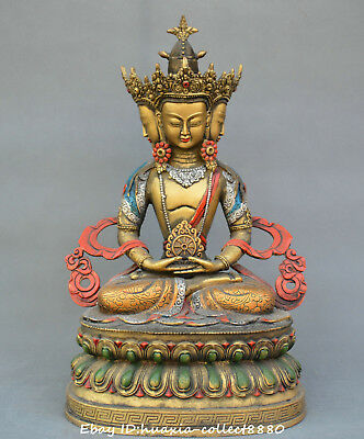 China Tibet Buddhism old Bronze colour drawing four sides Guanyin Kwanyin statue
