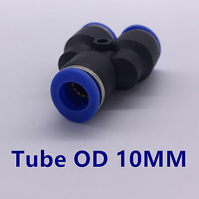 5pcs Pneumatic Y Union Connector Tube OD 10MM One Touch Push In Tube Fitting