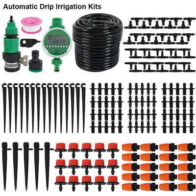 25M Automatic Micro Drip Irrigation System Kit Timer Self Watering Garden Dipper