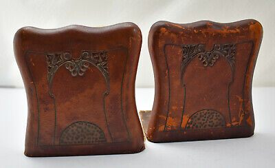Arts & Crafts Period Hand-Tooled Leather Bookends Cordova Shops/Roycroft