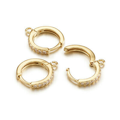 20pcs Brass Paved Cubic Zirconia Leverback Earwires Round Hoop w/ Loop Gold 16mm