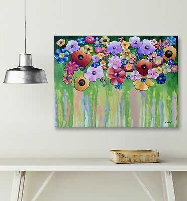 Abstract Flower Painting Original Acrylic Pour Painting on Canvas Textured