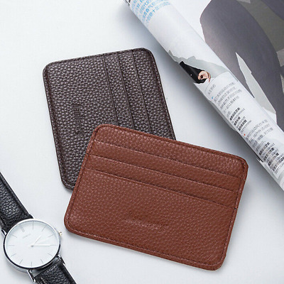 Men's Small Leather Wallet ID Credit Card Holder Slim Pocket Card Case US Stock