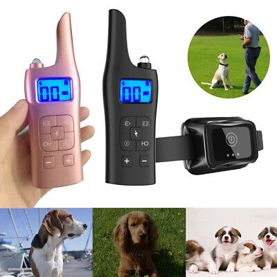 IP67 Pet Dog Training Collar Rechargeable Electric Shock LCD Anti-bark R 800M