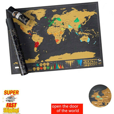 A Scratch Off World Map Deluxe Edition Travel Log Journal Poster Wall Decor Gift