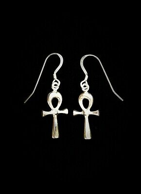 Ankh Earrings Pair solid Sterling Silver 925 with French loops Hand made