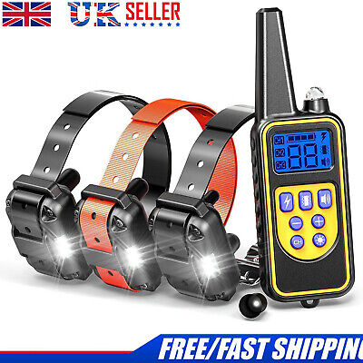 1/2/3 Dog Shock Pet Training Collar Waterproof IP67 LCD Rechargeable 800m Remote