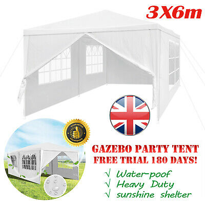 3M x 6M Garden Gazebo Outdoor Marquee Canopy Wedding Party Camping Tent (White)