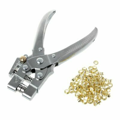 Rivet Hole Punch Plier With 100pcs Eyelet Hollow Press Grommets For Leather Belt