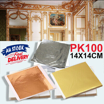 100 Sheets Gold 14x14cm Gilding Leaf Foil Art Silver Craft Copper Paper