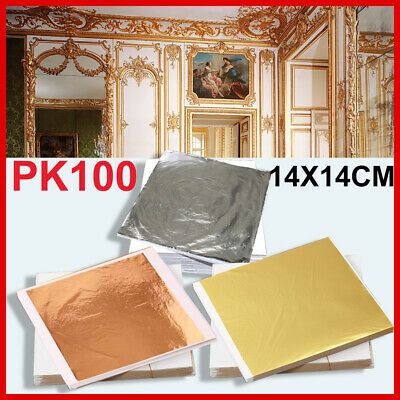 100 Sheets Silver Leaf Art Gilding Copper Foil Paper Gold 14x14cm Craft