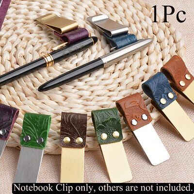Handmade Leather Notebook Holder Stainless Steel Clips Brass Pen Folder