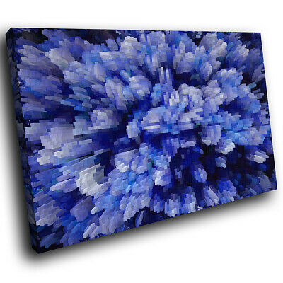 Blue Black Cool Funky Abstract Canvas Wall Art Large Picture Prints