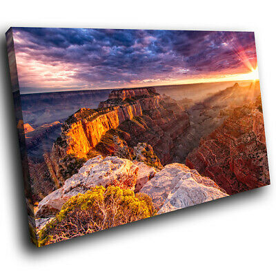 Orange Grand Canyon Sunset Scenic Canvas Wall Art Large Picture Prints
