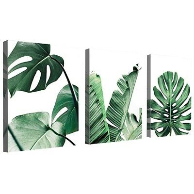Simple Green Leaves Canvas Art Tropical Plants Artwork Minimalist Watercolo L9Q9
