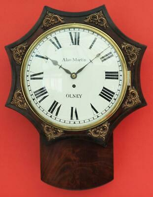 Antique English 8 Day Fusee Convex Drop Dial Clock Signed Alan Martin Olney