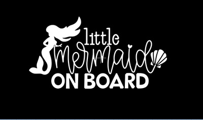 little mermaid on board baby sticker car decal outdoor vinyl tiny kids