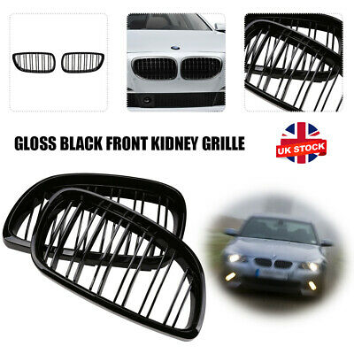Car Grilles Pair Gloss Black Double Slat Kidney Grill  Fit for BMW E92 E93 UK