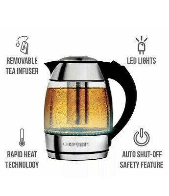 Chefman Electric Cordless Glass Tea Kettle with