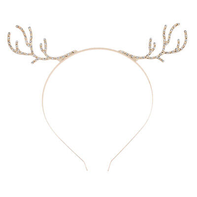 Antler Elk Horn Headband Crystal Rhinestone Women Hair Accessories Xmas Party