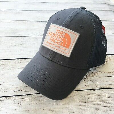 6d17473f2d29a1 NWT The North Face Mudder Trucker Hat Cap Unisex Mesh Snapback Gray Orange