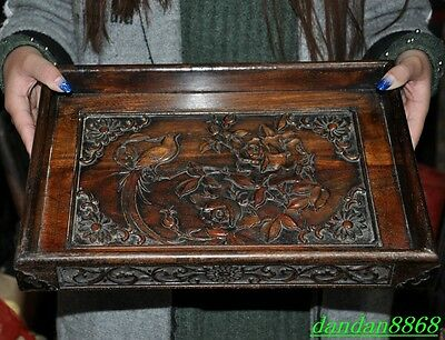 China old huanghuali wood Hand-carved flower bird statue palace plate tray dish