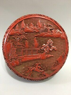 """6"""" China old antique mark wood Lacquer ware carved landscape Jewelry box"""