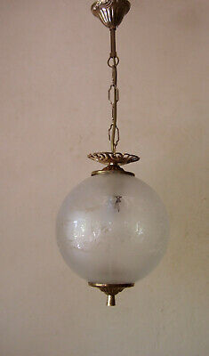 Antique Vintage French Brass And Round Glass Lantern Chandelier  Hall Light