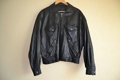 bcb3184c2 NWT VERSACE COLLECTION Men's BLACK LEATHER BOMBER JACKET Size 54 ...