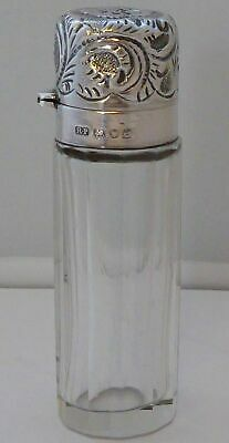 London 1900 Edwardian Antique Cut Glass and Hallmarked Silver Scent Bottle