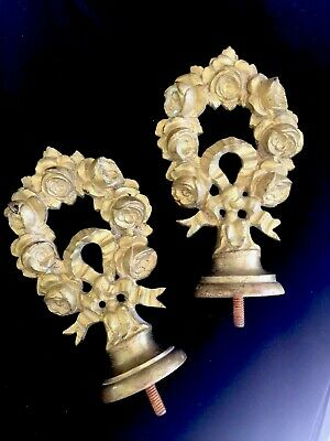 Antique French Finials, Cast, Large, Bronze Roses, Pair