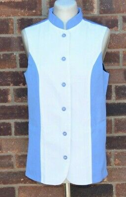 Ladies Waistcoat Button Up Blue and White Alexandra UK 10 with Mandarin Collar