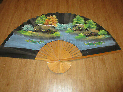 Large Oriental Scene Painted Fan Decor Wall Hanging Art Thailand 5ft. x 3ft.