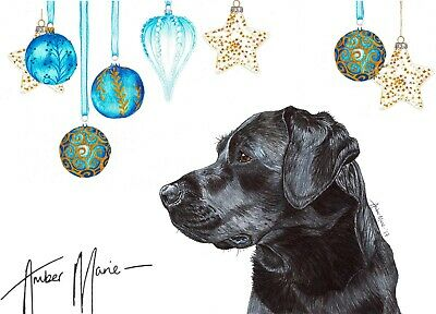 Single Large Luxury Black Labrador Christmas Card Gift/Present Dog (Bauble) Lab