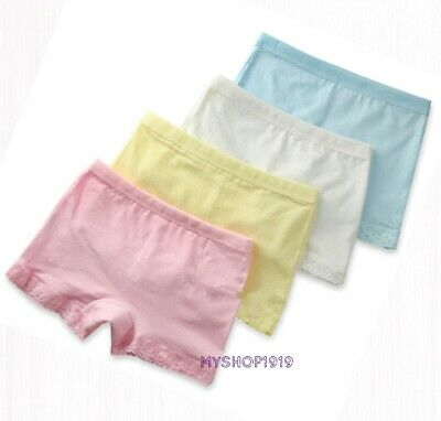 4 Pack Girls Boxer Shorts Underwear Briefs Cotton Knickers Age 2-10 Years