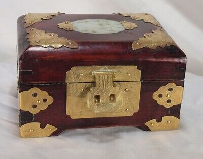 Vintage   CHINESE   Inlaid Carved Jade   ROSEWOOD JEWELRY BOX