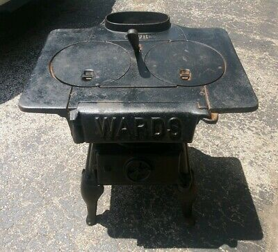 Antique Cast Iron Stove Montgomery Ward Very Little Surface Rust Very Rare