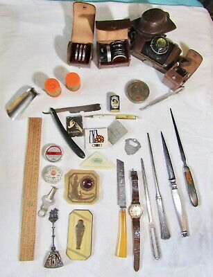 JUNK Drawer LOT Estate Vintage COLLECTIBLES Camera Watch Advertising + Unusual