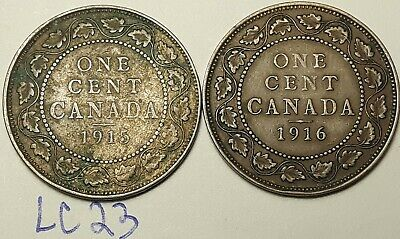 1915 & 1916  Canada Large Cent Penny King George V Lot of 2 Coins LC23