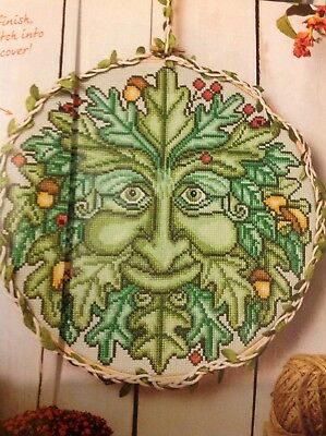 (H) Spring Folklore Green Man Forest Tree Cross Stitch Chart