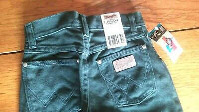 Boys Wrangler Cowboy Cut Jeans Size 7 Regular DARK GREEN Denim 14MWGPN ~ NEW