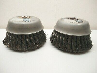 United Abrasives 03411 SAIT Large Cup Wire Brush 6 x.020 CS x 5/8-11,2Row