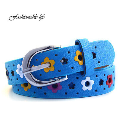 Kids Girls Children Toddler Flower Belt Buckle PU Leather Candy Color Waistband