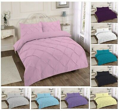 Pinch Pleat Pintuck Duvet Quilt Cover Bedding Set Pillowcase in Colors All Sizes