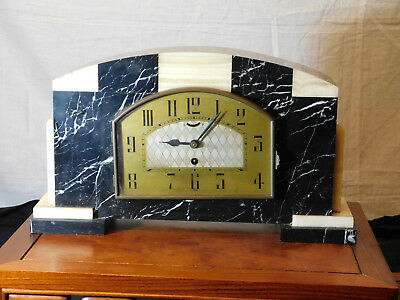 French Art Deco c1930's UCRA Marble Mantle Clock w/Garnitures