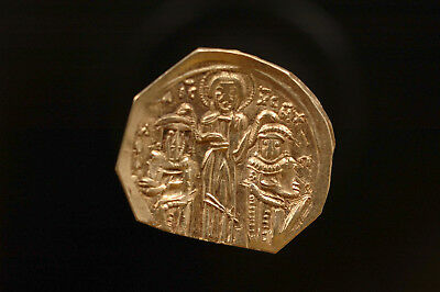 Byzantine Andronicus II and Michael IX AV Hyperpyron 1295-1320 GOLD BEST detail