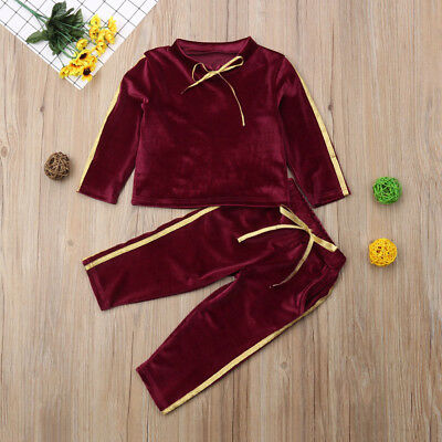 Toddler Baby Girls Boys Kids Outfits Clothes T-shirt Tops+Long Pants 2PCS Set