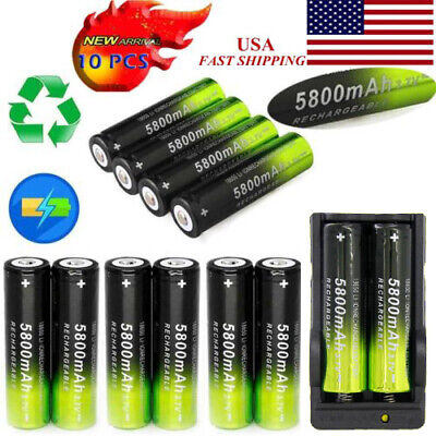 10X SKYWOLFEYE 18650 Rechargeable 5800mAh Li-ion 3.7V Battery Dual Smart Charger