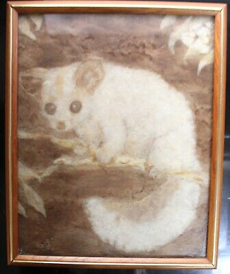 Wool Felted Framed Picture Signed Possum Brushtail